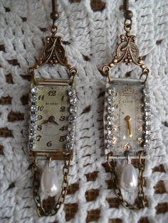 Art Deco Vintage Watch Face Earrings by bejeweledbychrisb on Etsy