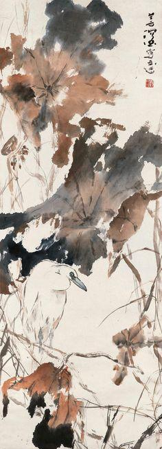 Yang Shanshen(杨善深) ,   荷塘白鹭