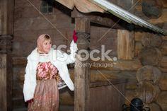 Cute girl Christmas dress, the snow falls Royalty Free Stock Photo