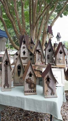 Manly birdhouses….. find these and more on facebook and etsy at Recycling is for the Birds #birdhouses