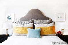 Scroll Headboard + Braided Quilt Shams + Prarie Shams from west elm — via Sheena Murphy's Apartment - Designers at Home - House Beautiful
