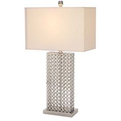"Table lamp with an openwork base and rectangular shade.   Product: Table lampConstruction Material: Metal and fabricColor: White and silverAccommodates: (1) Bulb - not includedDimensions: 30"" H x 16"" W x 9"" D"