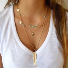 Feather  Layered Chain Necklace Gold metal feather shape layered chain necklace. Price is firm unless bundled .                                                           Please no trade or PayPal offers.                 Smoke free home.                                            Bundle for discount Jewelry Necklaces