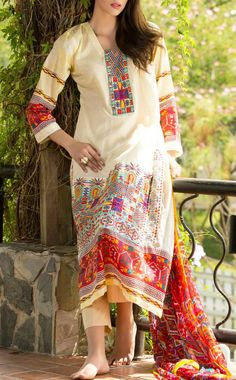 Buy Cream Embroidered Cotton Lawn Dress by Ayesha Zara Spring/Summer 2015.