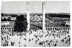 1936 Berlin Olympics Photograph - The East Gate of the Olympic Stadium on August 1, 1936, Awaiting the Arrival of the Fuhrer
