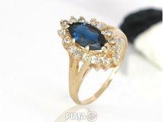Vestimentatie, Bijuterii, accesorii, inel superb diamante cu safir 0,32krt, imaginea 1 din 2 Second Hand, Sapphire, Engagement Rings, Vintage, Jewelry, Places, Fashion, Luxury, Enagement Rings