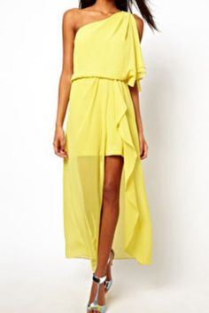 yellow one-shoulder asymmetrical chiffon dress