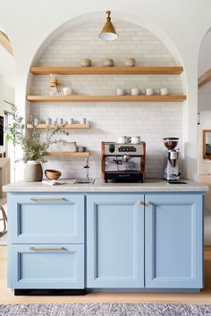 "Step Inside Erin Sander's Tailor-Made University Park Home - D Magazine | ""Coffee Room"" has refrigerator drawers.  And LOVE that color!"