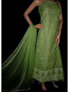 ISHIEQA's Green Cotton Chikankari Dress Material-KL0223C Types Of Stitches, Black B, White P, Anarkali Dress, Green Cotton, Green Dress, Kurti, Pure Products, Silk