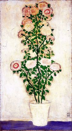 Sanyu (常玉)  (1901-1966) Chrysanthemums with Green Leaves ,China
