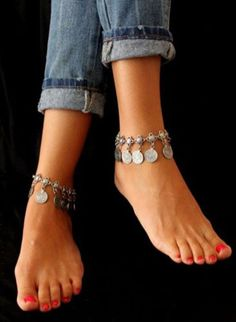 Bohemian Moon Lovers Turkish Coin Silver alloy Antalya Anklet Gypsy