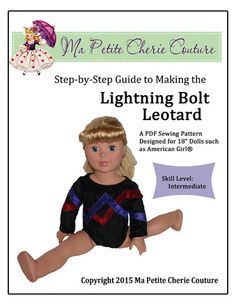 Ma Petite Cherie Couture Lightning Bolt Leotard Doll Clothes Pattern 18 inch American Girl Dolls | Pixie Faire
