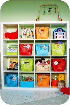 toy organization for girls bedroom. LG expedit shelves from Ikea. Toy Organization, Organizing Toys, Toy Rooms, Toy Storage, Storage Area, Kids Storage, Cube Storage, Storage Baskets, Kid Spaces