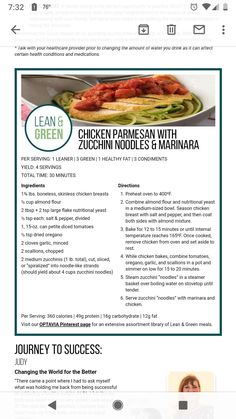 Chicken Parmesan and Zoodles Low Carb Dinner Recipes, Easy Healthy Recipes, Healthy Cooking, Healthy Eating, Cooking Recipes, Medifast Recipes, Lean Protein Meals, Lean Meals, Lean And Green Meals