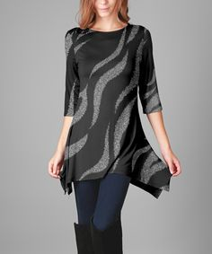 Take a look at this Black & Silver Wavy Stripe Sidetail Tunic - Plus Too today!