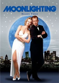 Moonlighting, one of my favourite 80´s tv series. Sybill Shepard and Bruce Willis.    It set the course for tv series like Bones and Castle later on.