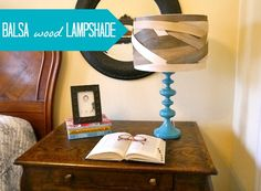 Jamie of C.R.A.F.T. used balsa wood from Hobby Lobby to give this lampshade a seriously cool makeover!