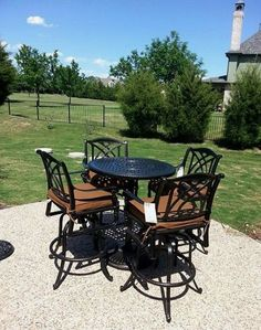 Gensun Grand Terrace Pedestal Table And Barstools Enjoy Your Outdoor Room   Yard  Art Patio U0026 Fireplace
