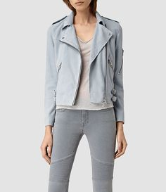 Loving this powder blue leather jacket with the panelled grey jeans. All Saints Leather Jacket, Leather Jackets, Biker Jackets, Grey Suede Jacket, Grey Leather, Biker Jacket Outfit, Bomber Jacket, Dark Grey Jeans, Casual Outfits
