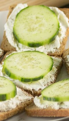Cucumber Sandwiches ~ made with cream cheese, and the perfect seasonings atop cocktail bread are the perfect appetizer for parties and showers! Cucumber Sandwiches are easy to make and always a crowd pleaser!