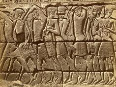 Picture of Philistine prisoners at Medinet Habu, Luxor, Egypt
