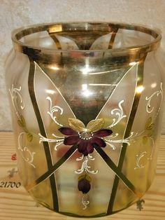 Bohemian Czech Punch Bowl Candy Dish Potpourri Vase BIG Moser Loetz Glass Pansy