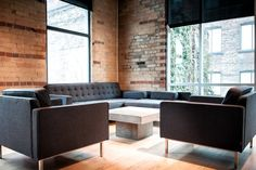 King West @ Spadina - $55/hour - Sitting room- This hip digital marketing firm occupies an open-concept, energetic office space, complete with floor-to-ceiling windows, exposed brick and lovely hardwood floors. Its two meeting rooms both offer views of a courtyard below, contemporary furnishings and warm lighting. Book this space: hello{at}ThisSpaceWorks{dot}com