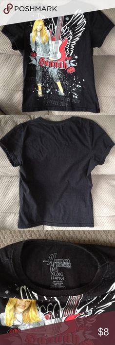 Girls black Hannah Montana t-shirt Short sleeve t, 100% cotton, gently worn. Size girls XL (14/-6) Hannah Montana Shirts & Tops Tees - Short Sleeve