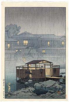 Rain at Shuzenji Hot Springs, by Kawase Hasui, woodblock print, 1933 Japanese Artwork, Japanese Painting, Japanese Prints, Era Meiji, Japanese Woodcut, Art Asiatique, Japanese Illustration, Japan Art, Woodblock Print
