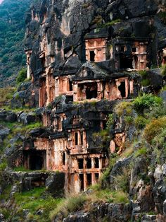 The Ancient Rock-Cut Tombs of Myra's Lycian Necropolis - where the small town of Kale is situated today in present day Antalya Province of Turkey.