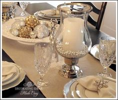 Gold And White Christmas Table Decorations champagne gold mercury glass hurricane holders | for the hostess