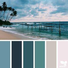 This is my pick on color palette. The colors are a little dark Ocean Color Palette, Ocean Colors, Tropical Colors, Colour Pallette, Colour Schemes, Color Patterns, Room Colors, House Colors, Paint Colors