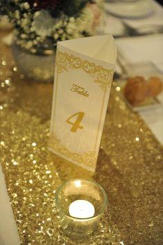 DIY tri-fold table number and menu
