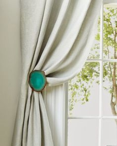 Custom Agate Drapery Holdback Pull Brushed Chrome Gemstones Home Decor Curtains Window Jewelry Window Treatments