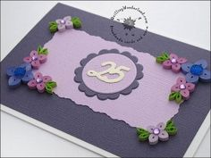 Birthday Card - special card for a special person. Handmade card made in quilling technique using thin paper strips. Pink and purple floral card with gems.