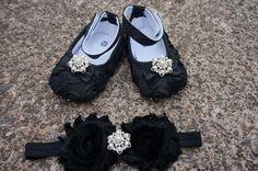 Baby Girl Black Satin Rosette Crib Shoes Baby by OlenasBoutique, $21.99