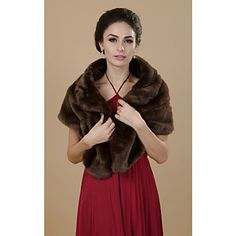Brilliant Short Sleeve Faux Fur Party/Casual Shawls – AUD $ 23.01