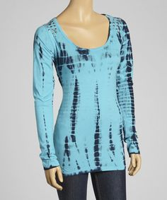 Take a look at this Aqua Studded Tie-Dye Top - Women by Cruel Girl on #zulily today!