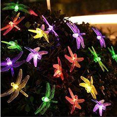 Fangdon String Light Dragonfly Solar Powered Lighting Lamps Solar for Decor Outdoor Bedroom Garden Party Wedding Wall Door