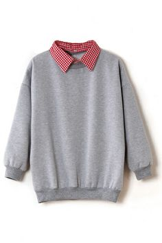 Detachable Checks Collar Grey Pullover