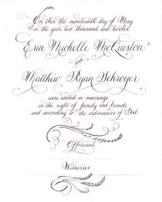 wedding invitation - like the script on the old census paperwork, reminds me of my ancestors and my research