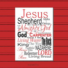 Names of Jesus, Scripture Print Digital File, Instant Download, Subway Art, Bible Art, Christian Typography, Christian Print, Printable, Red by LoveLineSigns on Etsy