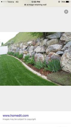 Large rock boulder retaining wall inspiration.