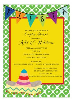 s party theme for your wedding shower? Then check out these hot and fun fiesta couple shower invitations available on Polka Dot Design? This Mexican Fiesta Invitation is created by a company called Event Invitation Templates, Printable Invitations, Party Invitations, Invitation Ideas, Printable Party, Wedding Invitation, Mexican Invitations, Couples Shower Invitations, Fiesta Theme Party