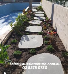 Iluka Bluestone Stepping Stones have a sawn top surface, with an organic natural edge. These great new stepping stones have a size of approximately 800-1000mm and are 30mm thick. Garden Steps, Garden Edging, Stone Landscaping, Pool Coping, Garden Stepping Stones, Stone Supplier, Natural Stones, Landscape Design, Organic