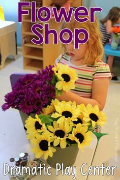 Spruce up the basic home living dramatic play center by adding silk flowers and these adorable order forms. Children love working in their own flower shop! via @PlayToLearnPS