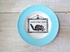 Nuts for You Sign // Woodland Decor // Squirrel // Eco Friendly // Love //  Shabby Chic // Blue // Nursery Wall Decor. $20.00, via Etsy.