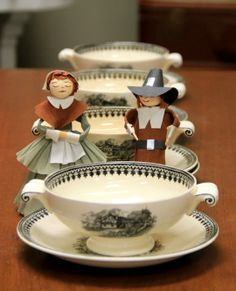 Four Abbey Ware Cream Soup Bowls with Underplates (SOLD) & Paper Pilgrim Couple Soup Bowls, Cream Soup, Antique China, Pilgrim, Happy Thanksgiving, Tea Cups, Couple, Antiques, Paper