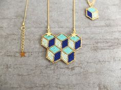 Cubes 3D beaded necklace 5 cubes japanese by MyFrenchTouchBijoux