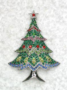 Gorgeous Multicolors Rhinestone Crystal Christmas Tree Pin Brooch G321 | eBay